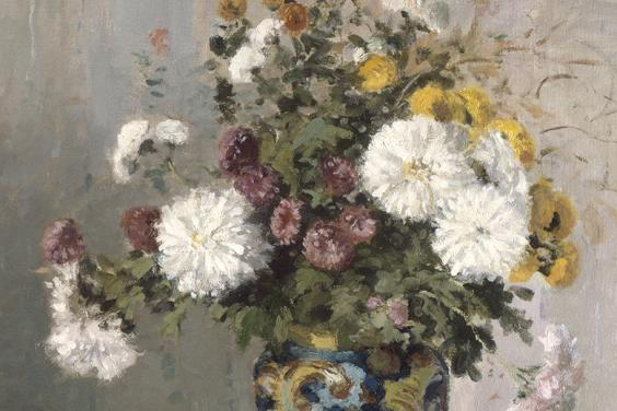 Detail from Camille Pissarro, Chrysanthemums in a Chinese Vase, 1873. Image © National Gallery of Ireland