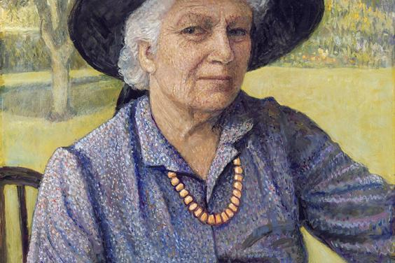 A painted self-portrait of a grey-haired woman, dressed in a purple dress and black broad-brimmed hat, seated outdoors and holding a palette.