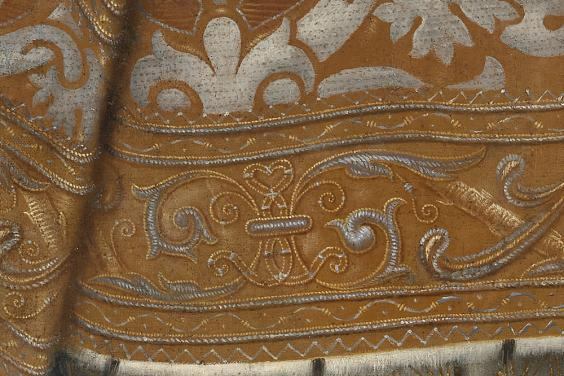 Detail of textiles in an oil painting