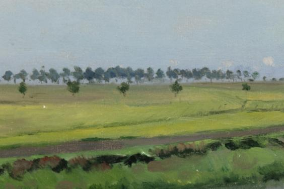 Painting of trees and fields