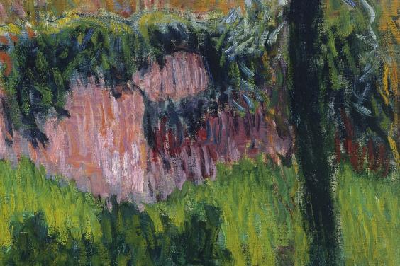 Detail of stripes of paint in Roderic O'Conor's painting