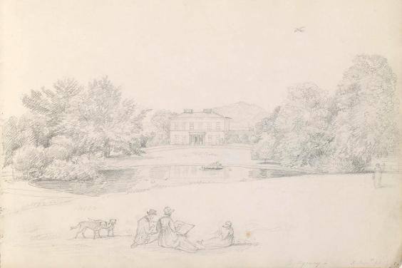 A pencil sketch of figures sitting on grass. In the background, we can see a large house flanked by trees