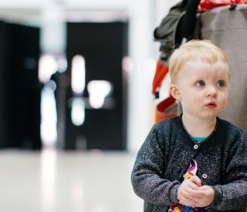 A child in the foyer of the Millennium Wing. © National Gallery of Ireland