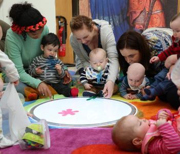 Babies enjoying sensory activities in the National Gallery of Ireland