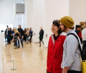 Visitors in the Millennium Wing gallery rooms. © National Gallery of Ireland.