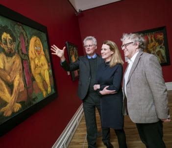 Sean Rainbird (National Gallery of Ireland); Janet McLean (National Gallery of Ireland); and Keith Hartley (National Galleries of Scotland) pictured at the opening of 'Emil Nolde: Colour is Life', 13 February 2018.