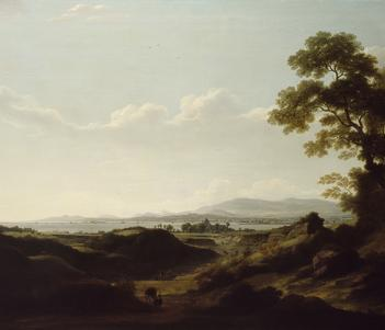 An oil painting of a landscape with mountains and the sea in the distance.