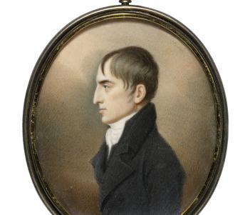 Photo of a miniature portrait of a man in profile.
