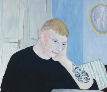 An oil painting of a young man at work on a laptop. He is wearing black, and his head rests in his hand. His sleeve is rolled up and we see a tattoo on his forearm