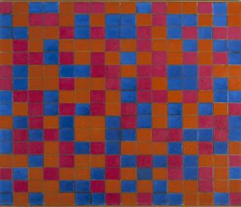 A checkerboard composition with oranges, pinks and blues