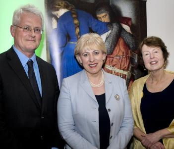 Sean Rainbird; Minister for Culture, Heather Humphreys; and Dr Marie Bourke at the launch of the exhibition. © Fennell Photography