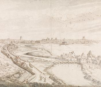An ink and watercolour drawing of the view towards Dublin, from the Phoenix park, in the late seventeenth century.