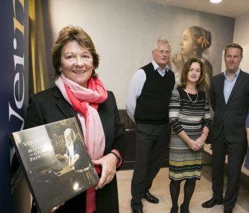 Helma Lynam, the 100,000th visitor to the Vermeer exhibition, pictured with Sean Rainbird, Patricia Golden, Adriaan Waiboer, and Catherine Griffin. Photo courtesy of Fennell Photography.
