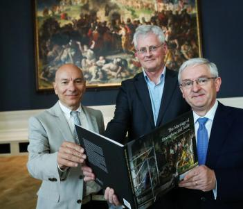 Simone Mancini, Head of Conservation, National Gallery of Ireland; Sean Rainbird, Director, National Gallery of Ireland; and Peter Keegan, Country Executive for Ireland, Bank of America Merrill Lynch; at a preview of Daniel Maclise (1806-1870), The Marriage of Strongbow and Aoife in the refurbished Shaw Room of the National Gallery of Ireland, following a conservation and research project funded by the Bank of America Merrill Lynch Art Conservation Project. Photo © Maxwell Photography