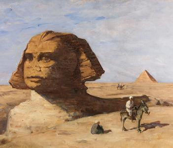 A painted view of the Sphinx, with a pyramid in the distance. In the foreground, a seated male figure and a man on a donkey.