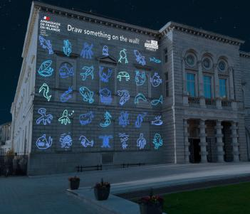 Drawings projected on the facade of the National Gallery of Ireland