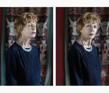 Photographic diptych portrait of Edna O'Brien by Mandy O'Neill