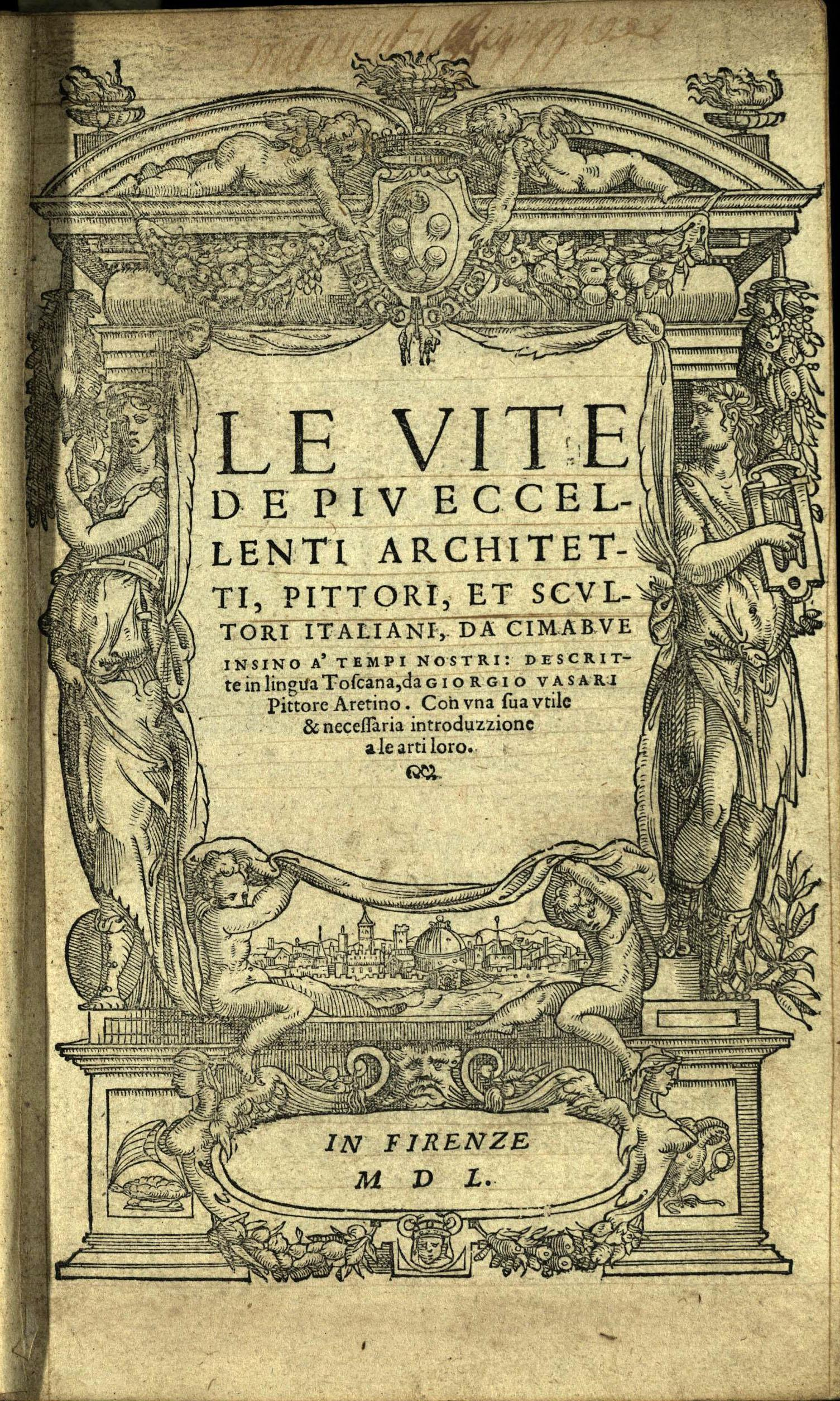 Title page of Vasari's Vite